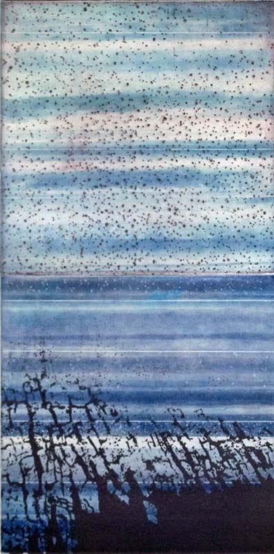 "CrevasseII-Strata-Bubble, etching w/chine colle, 16"" x 8"", 2012"
