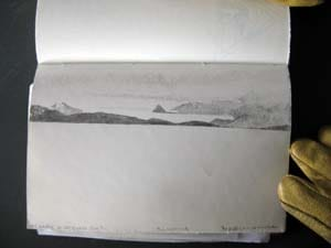 Sketch of the Brown Peninsula and the Pyramid in the distance