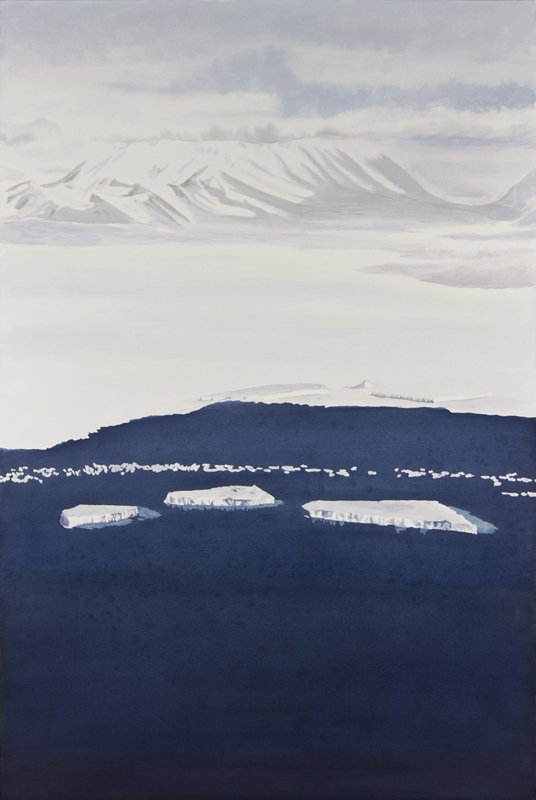 "Ross Shelf Bergs; acrylic; 30"" x 20""; 2011; SOLD"