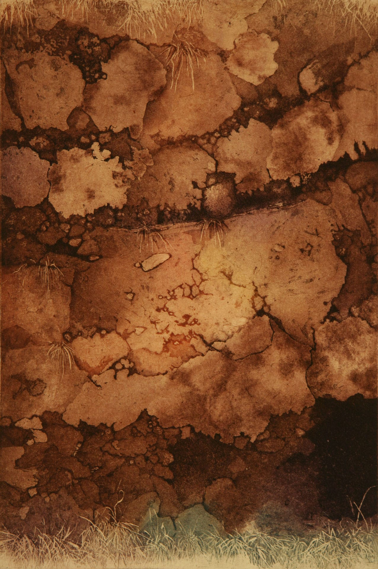 "Lava Cliff; etching w/chine colle; 18"" x 12""; 2008"
