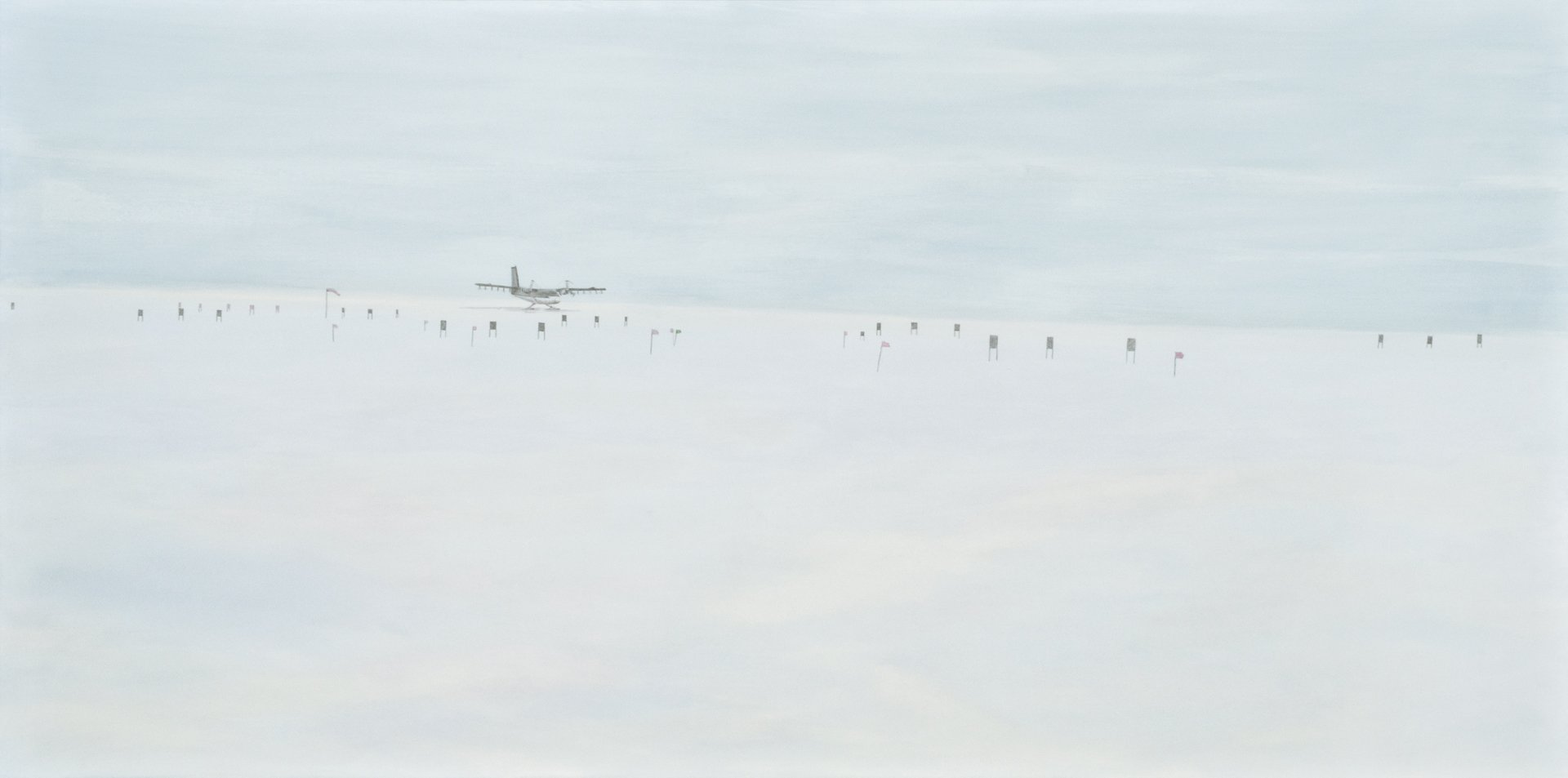 "On The Plateau-Twin Otter; Acrylic, silverpoint on panel; 24"" x 48""; 2010"