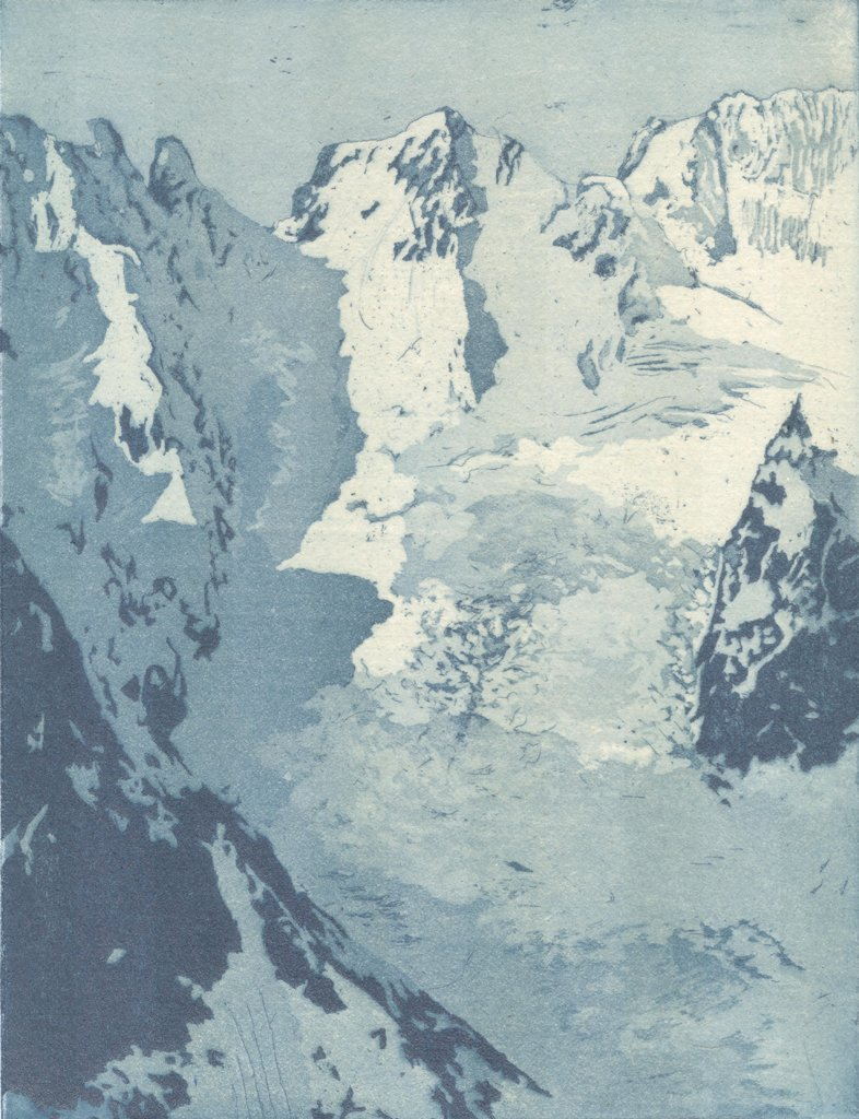 "Crevasse Bowl; Etching w/chine colle; 8"" x 6"", 2013"