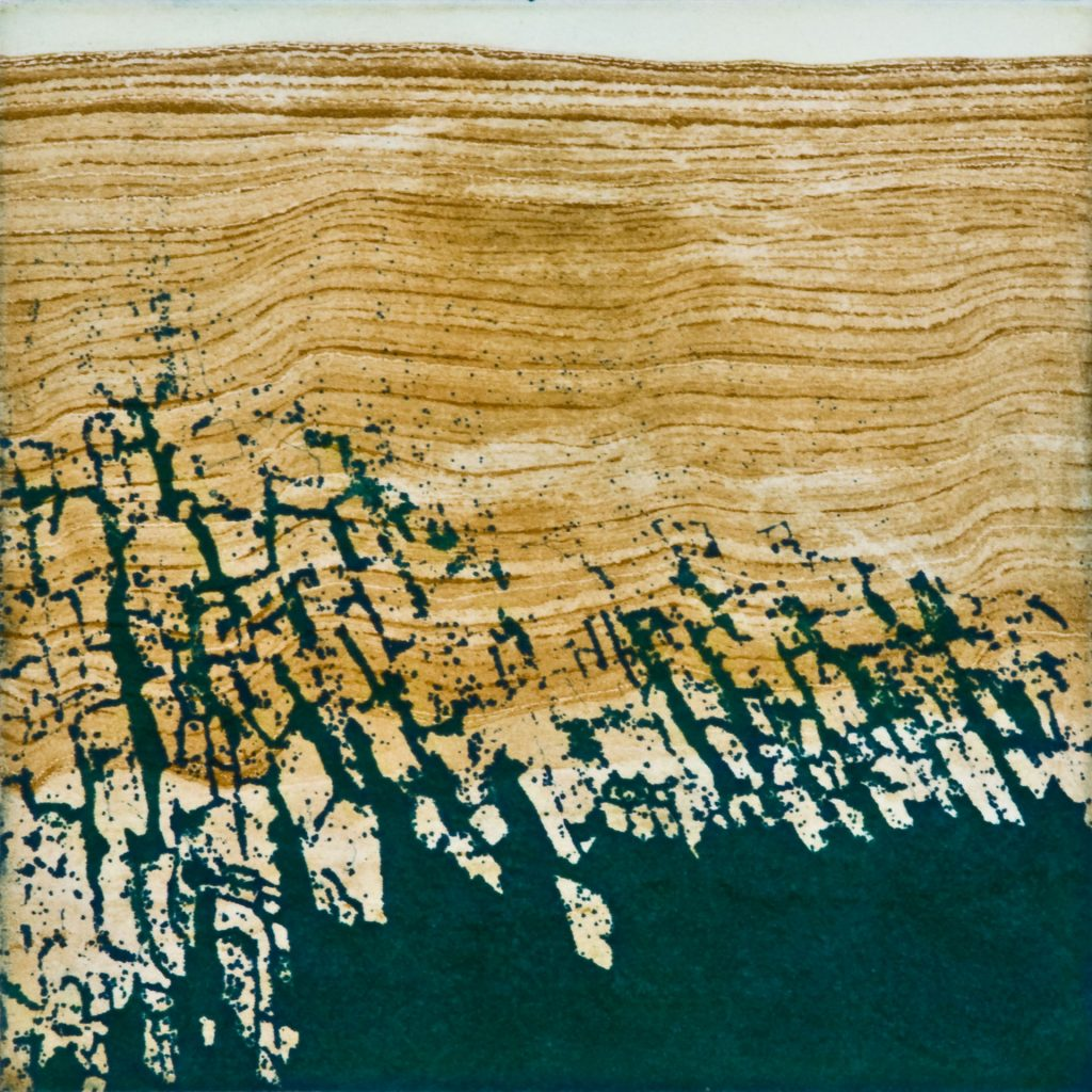 "Crevasse II Sounding II, etching w/chine colle, 8"" x 8"", 2009"