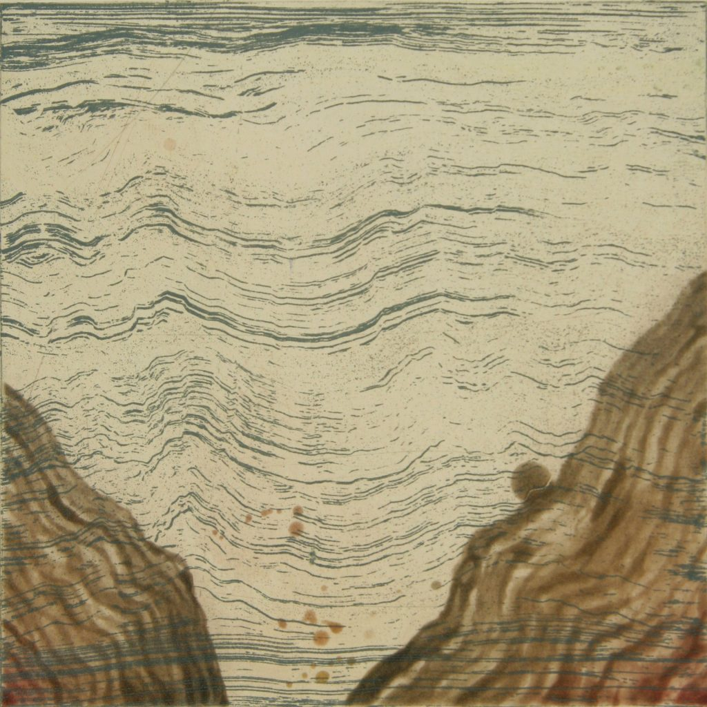 "Depth Sounding I, etching w/chine colle, 8"" x 8"", 2008"