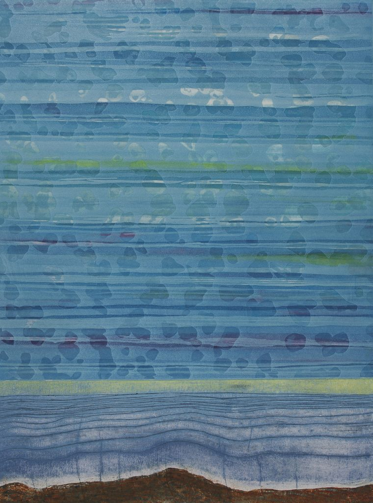 "Depth Strata 8 (Glow), etching w/chine colle, collograph, 24"" x 18, 2012"