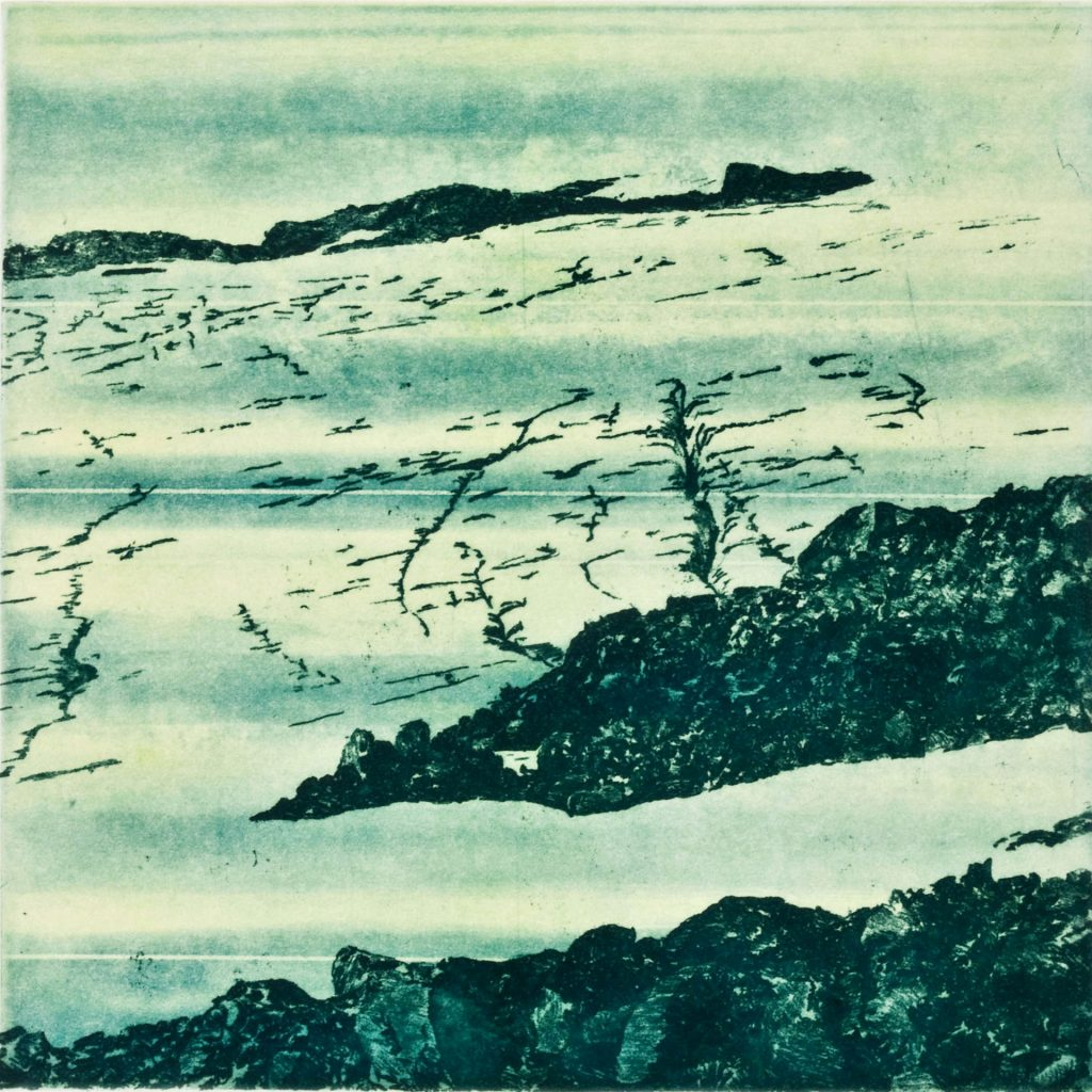 "Easton Strata I (blue), etching w/chine colle, 8"" x 8"", 2009"