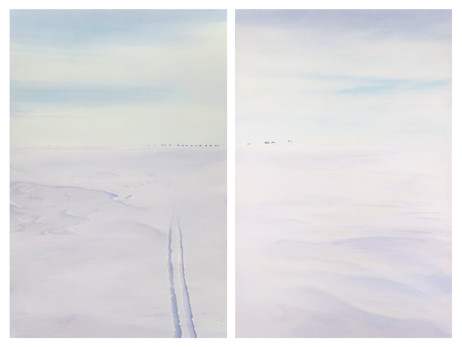 "Edge of Camp (diptych); acrylic; 30"" x 20"" each; 2011"