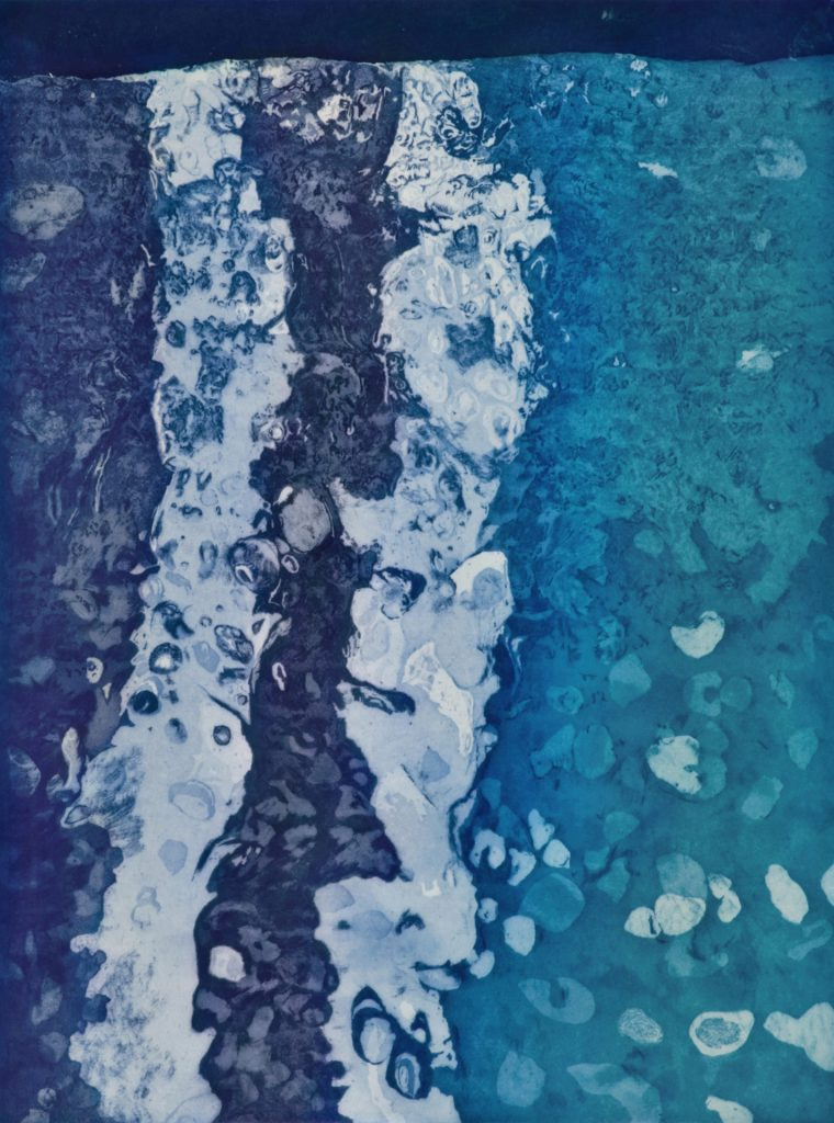 "Firn Ocean, etching w/chine colle, 24"" x 18"", 2011"