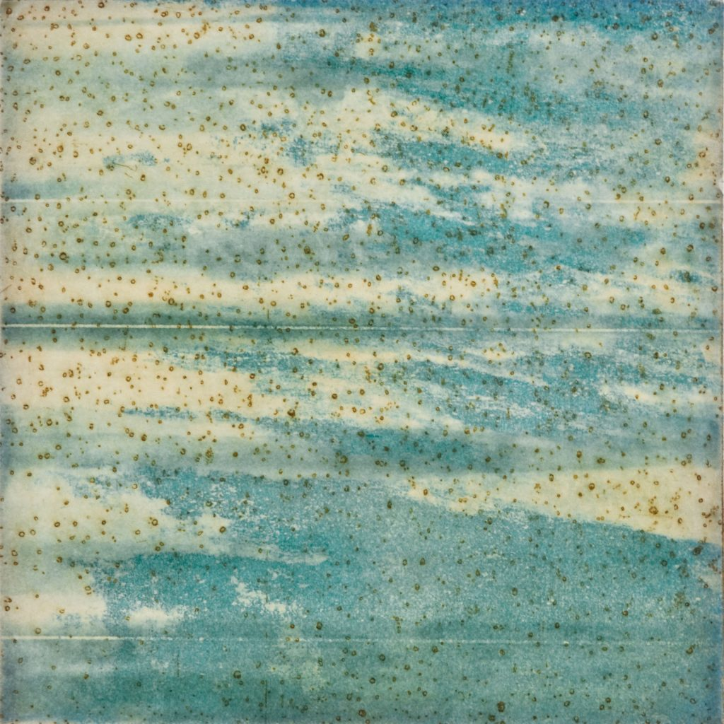 "Gas Strata I, etching w/chine colle, 8"" x 8"", 2009"