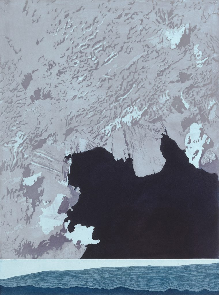 "Pine Island Basin, etching w/chine colle, 24"" x 18"", 2012"