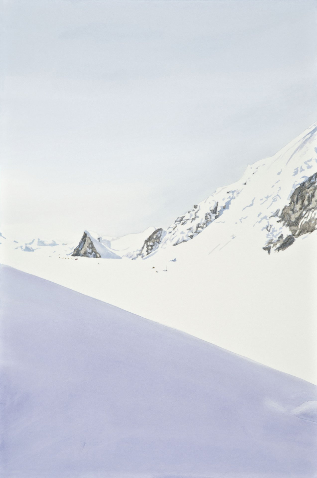 "Rising to the Col; Graphite, acrylic ink on paper, mounted on panel; 30""x 20"", 2011"