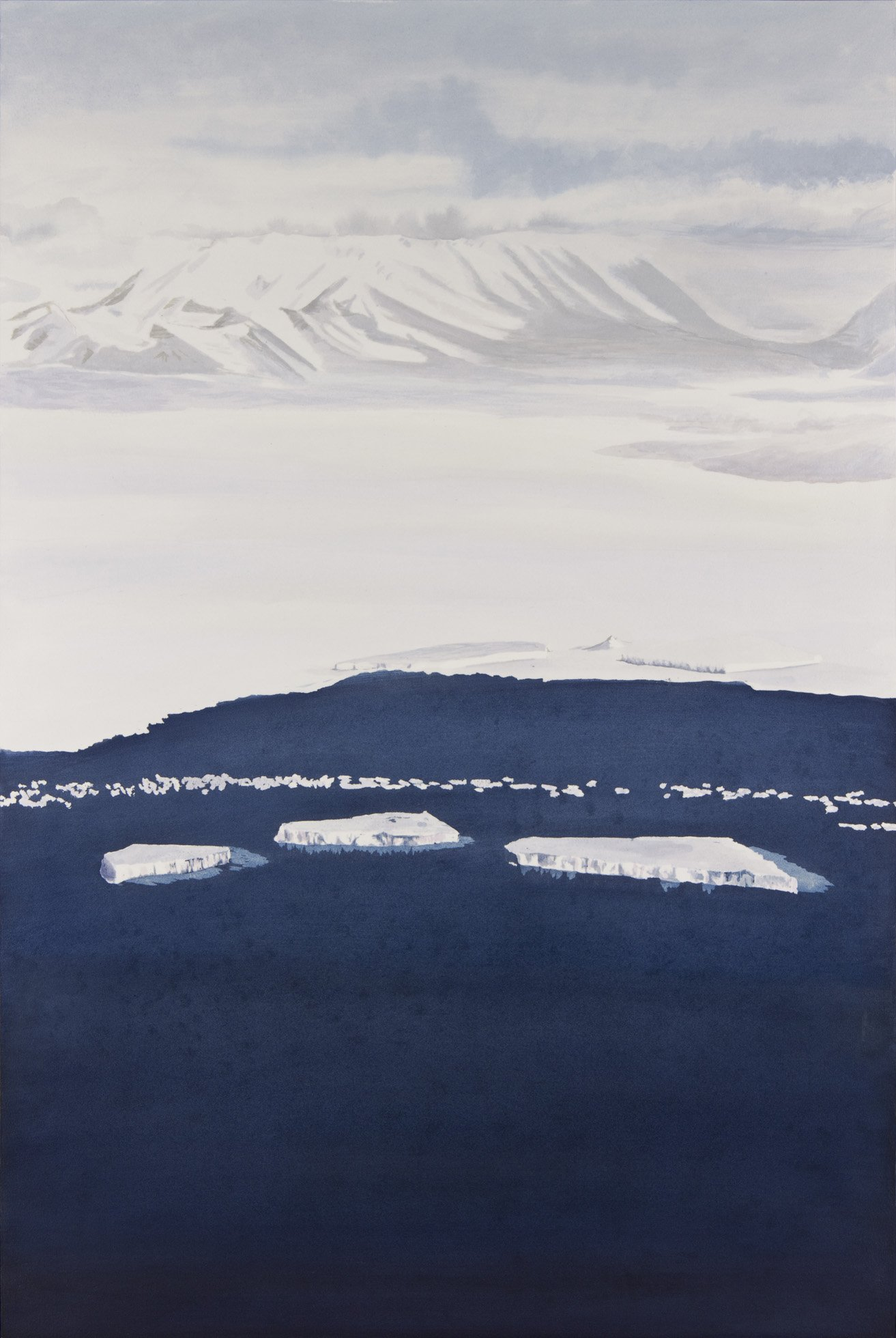 "Ross Shelf Bergs; acrylic; 30"" x 20""; 2011"