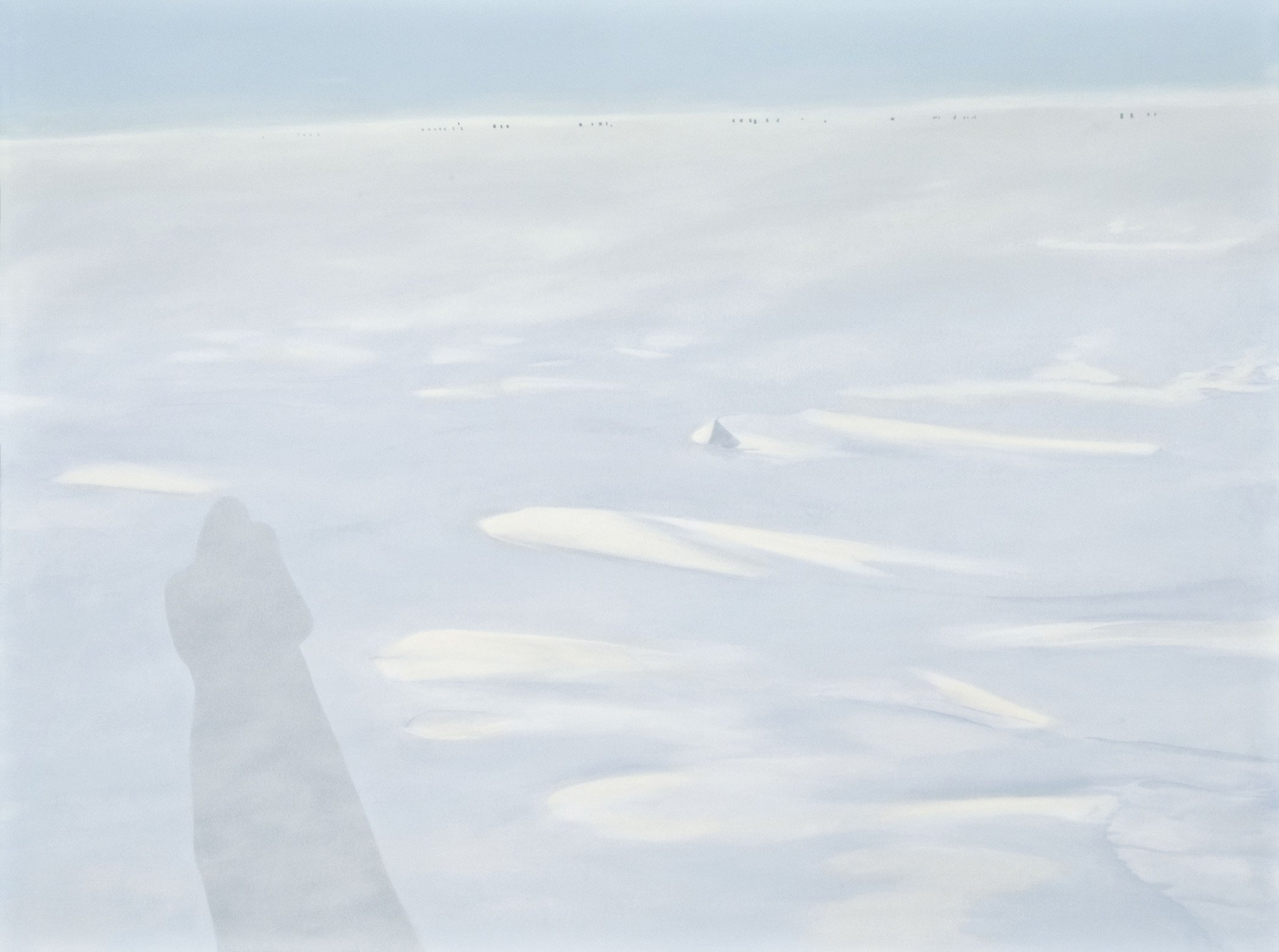 "On The Plateau-Skiway; Acrylic on paper on panel; 36"" x 48""; 2010"