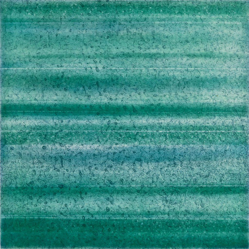"""Strata I Strata II (firn), etching w/chine colle, 8"""" x 8"""", 2009"""