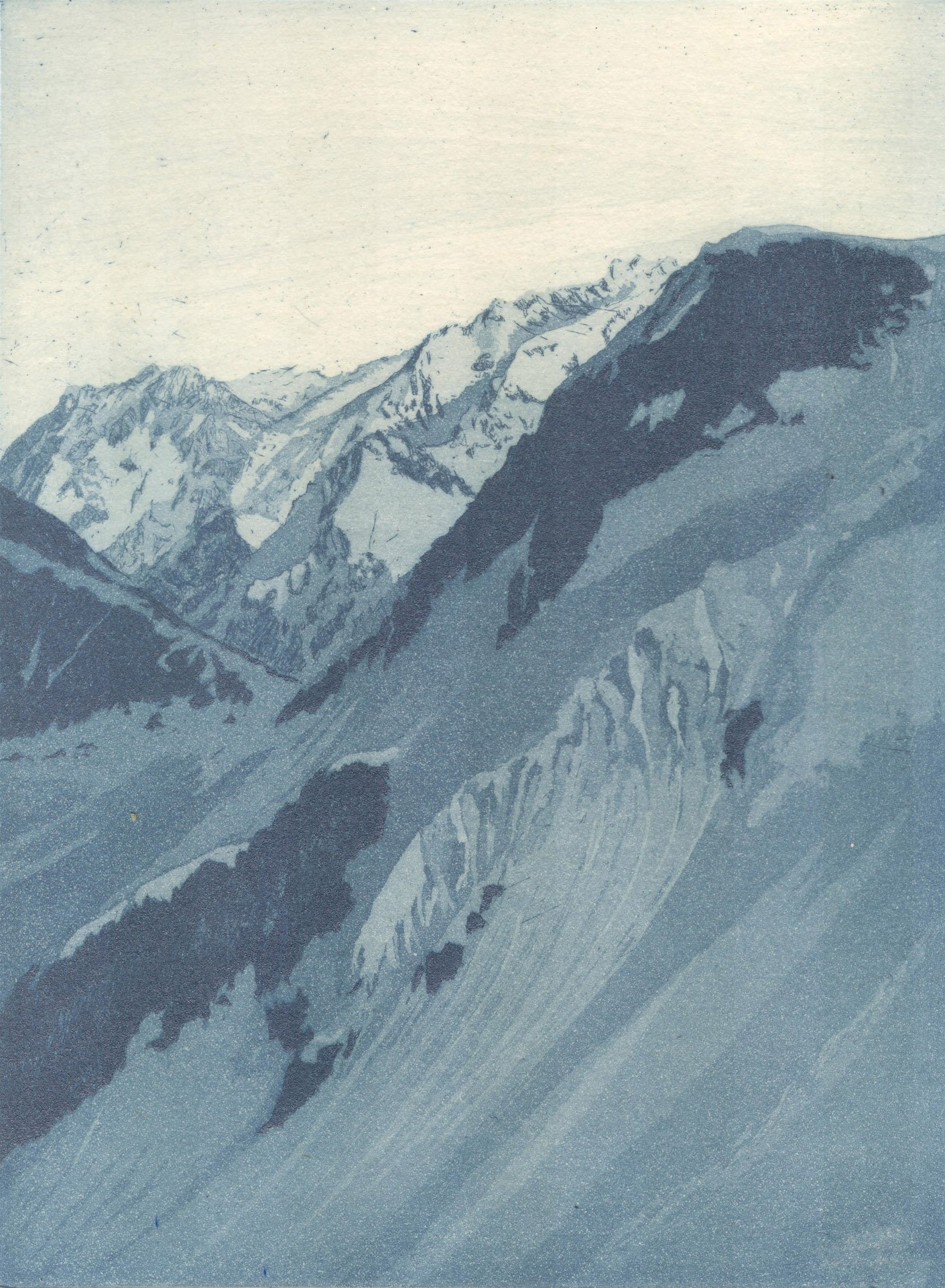 """Swirling Cornice; Etching w/chine colle; 8"""" x 6"""", 2013"""